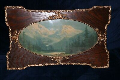 Antique Gesso Frame with Old Mountain Scene Print - Art Nouveau w/ Oval Glass