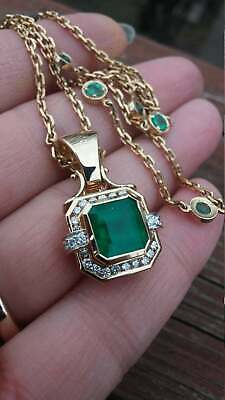 4Ct Green Emerald & Diamond 14k Yellow Gold Over Without Chain Stunning Pendant