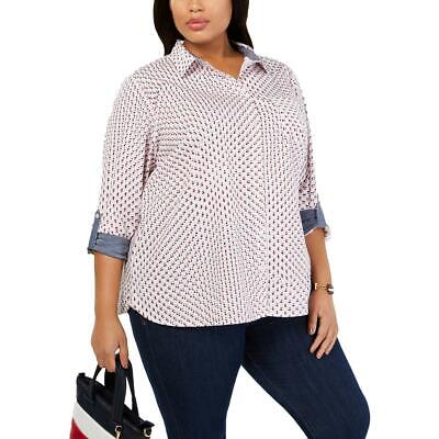 Tommy Hilfiger Womens Stars White Cotton Button-Down Top Shirt Plus 2X BHFO 7255