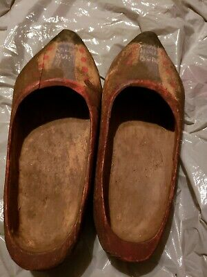 Vintage shovelnail Wooden Shoes Wood Clogs Hand Painted Dutch Holland Very Old