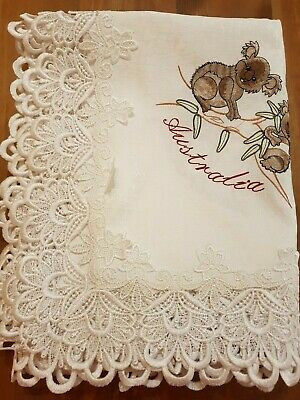 160*230cm Embroidered Australiana Rectangle T/Cloth(Koala +Map Design)