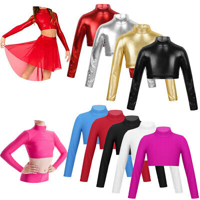 Girls Crop Top Dance Sports Long Sleeve Tank Tops Gym Ballet Mock Neck Dancewear