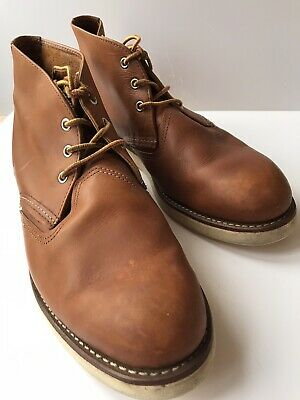 Mens Leather Red Wing Shoes Desert Boots Lace Up Tan US 10.5 UK 9.5