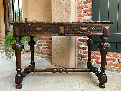 Antique English Carved Oak Writing DESK Sofa Hall TABLE Jacobean William Mary