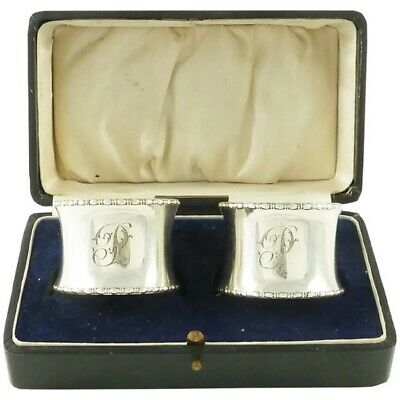 English Sterling Silver Napkin Rings, A Pair Boxed, Monogrammed P