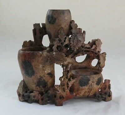 Vintage Chinese Soapstone Finely Hand-carved Floral Vase; Height-18cm;