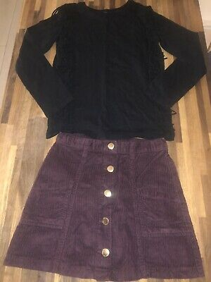 Next F&F Girls Black Tassel Top & Cord Skirt Set Outfit Age 8-9 Excellent Cond
