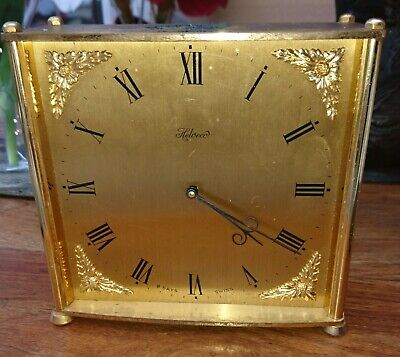 Vintage Swiss/Helveco Lacquered Bronze Carriage 8 Day Alarm Clock Spares Repairs