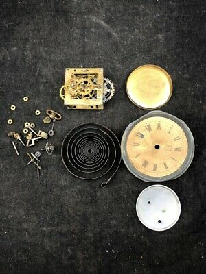 "LOT OF ANTIQUE WATERBURY CLOCK PARTS 2 1/4"" X 2 1/4"" small clock"