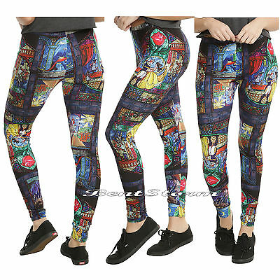 Disney Beauty & The Beast Stained Glass Leggings Enchanted Rose Yoga Pants S-L