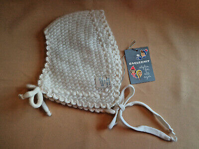 Vintage Childs Infant Angora Wool KNIT HAT Eagleknit White Ties NWT 1940s 50s