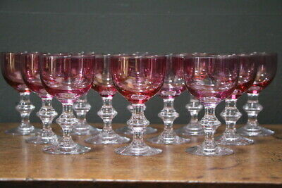 Vintage set 12 Ruby wine glasses antique shaped balluster stem hand blown French