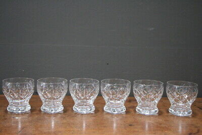Vintage set 6 heavy cut crystal stemless goblets wine glasses hand cut pattern