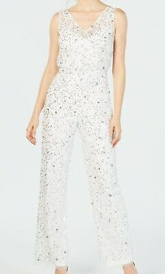 Adrianna Papell Women's Jumpsuit White Size 14 Embellished Sequin $299 #008