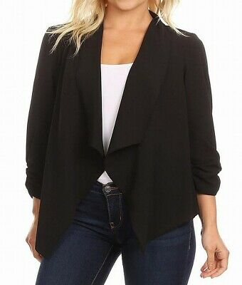 MOA Collection Women's Sweater Black Size Large L Open Front Cardigan $39 #433