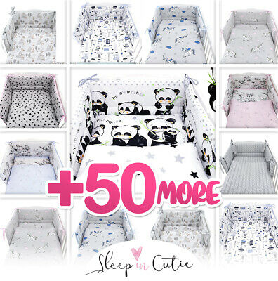 PANDA - NURSERY- BABY BEDDING SET-BUMPER-PILLOW-QUILT COVERS fit Cot/COT Bed