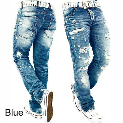 Mens Skinny Ripped Jeans Frayed Destroyed Slim Fit Stretch Denim Pants Trousers