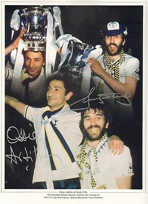 OSSIE ARDILES & RICKY VILLA - Spurs 1981 F.A. Cup - SIGNED PHOTOGRAPH - AFTAL