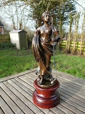 Lovely Large Antique Vintage French Spelter Figurine Of Woman On Mahogany Plinth