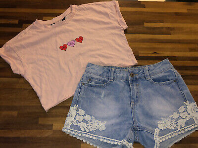 New Look Girls Denim Shorts And Pink Cropped Heart T Shirt Age 9-10 Great Cond
