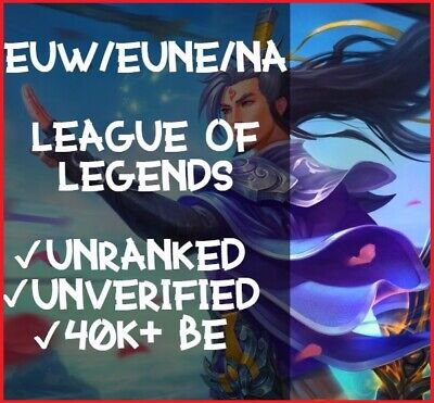 Level 30 Eune / Euw / Na 40K+ Be Unranked Lol Account, League Of Legends Acc