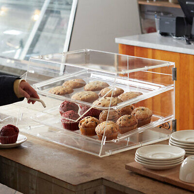 2 Tray Bakery Clear Acrylic Pastry Pastries Display Case Cafe Hotel Counter Food