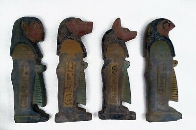 Rare Ancient Egyptian Large Carved Sandstone Sons Of Horus Set Of 4 Amulets