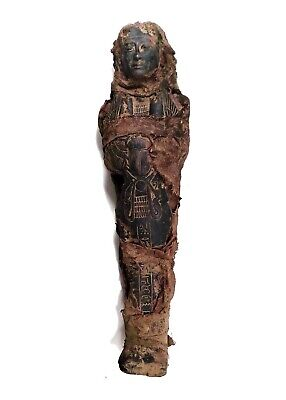 Egyptian Antique Coffin Sarcophagus Linen Wrapped Mummy Bandage Secret Curse