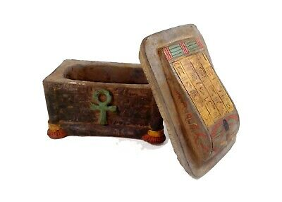 Egyptian Antiques Sarcophagus Sepulture Lided Stone Coffin Tomb Ankh Life