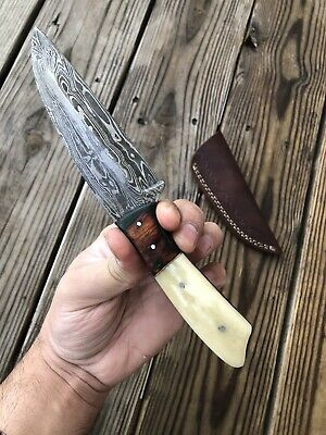 CUSTOM HAND FORGED DAMASCUS STEEL Hunting Knife W/ Bone & Stained Wood  Handle