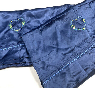 Pair Set 2 Vintage Luxury Crushed Silk Pillowcases Embroidered Hearts Blue 20x36