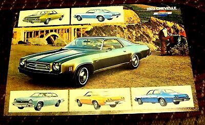 Lot/10 Vtg 1973 CHEVROLET CHEVELLE Dealer Estimate Flyer Brochure Poster 17x11