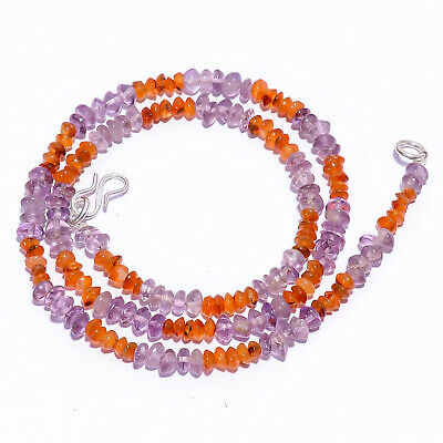 "Natural Amethyst Carnelian Gemstone Saucer Beads Necklace 5-6 mm 17"" UB-7051"