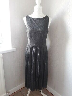 Ladies sparkly pleated ASOS open back silver black dress size 10