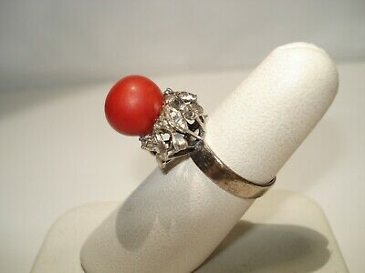 Antique Old Chinese Export Asian Sterling Silver Coral Estate Ring Size 6.75