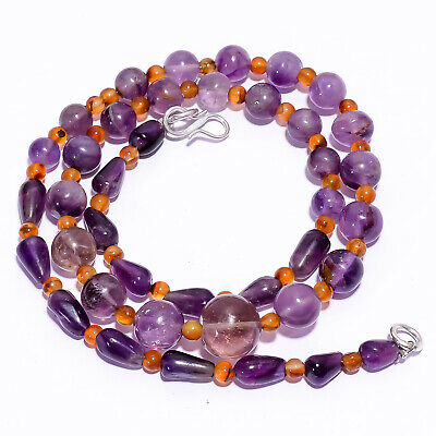 "Natural Amethyst Carnelian Gemstone Smooth Beads Necklace 4-12 mm 17"" UB-7052"