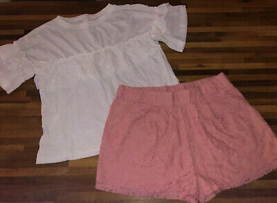 Next Girls Pink Shorts And White Frill Front T Shirt Age 9-10 Excellent Cond