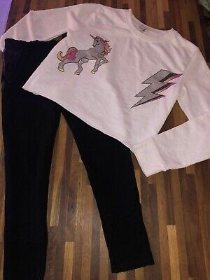 River Island Unicorn Jumper Black Leggings Set Outfit Age 7-8 Great Cond