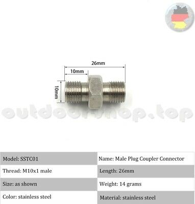 PCP Airsoft Paintball Double End M10/M10 Male Thread Adapter Connector INOX