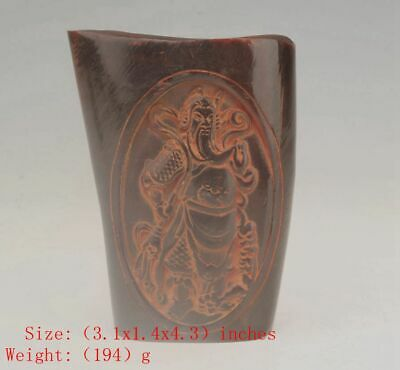 Unique Chinese Yak Horn Wine Cup Relief Guan Yu Gift Collection Old