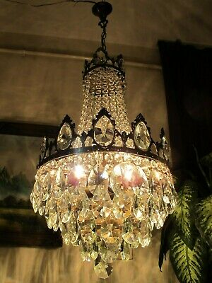 Antique Vintage French Basket Style Crystal Chandelier Lamp Light 1940's.14 in..