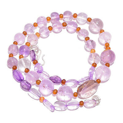 "Natural Amethyst Carnelian Gemstone Smooth Beads Necklace 3-15 mm 18"" UB-7831"