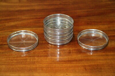 Antique Sterling Silver wine glass coasters cut crystal centres Georgian pattern