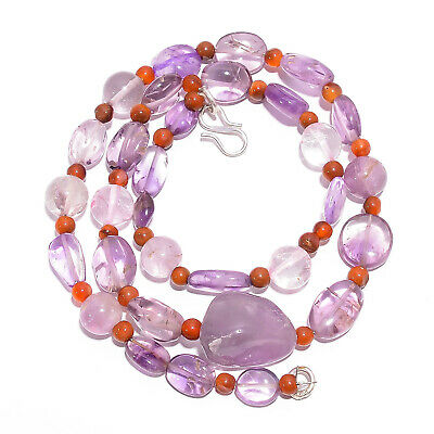 "Natural Amethyst Carnelian Gemstone Smooth Beads Necklace 4-19 mm 18"" UB-7834"