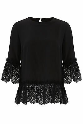 Nicole Miller Women's Blouse Black Size Small S Silk Lace Crewneck $295- #452