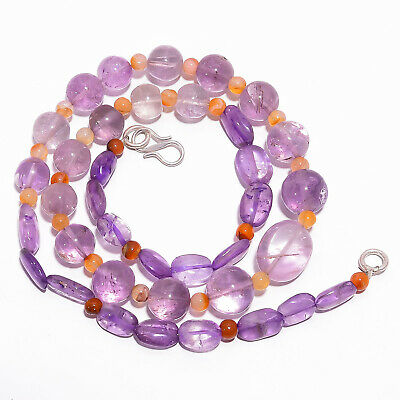 "Natural Amethyst Carnelian Gemstone Smooth Beads Necklace 4-14 mm 18"" UB-7839"