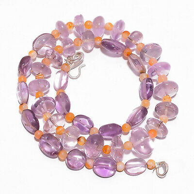 "Natural Amethyst Carnelian Gemstone Smooth Beads Necklace 4-13 mm 18"" UB-7840"