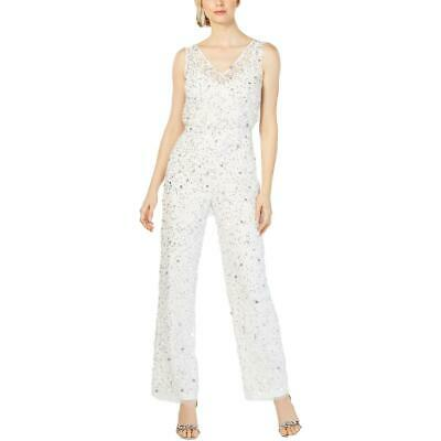 Adrianna Papell Womens Crunchy Ivory Sequined Embellished Jumpsuit 12 BHFO 4055