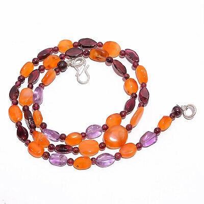 "Natural Amethyst Carnelian Garnet Gemstone Beads Necklace 3-11 mm 18"" UB-7847"