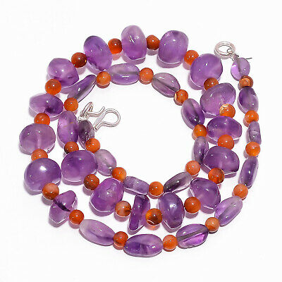 "Natural Amethyst Carnelian Gemstone Smooth Beads Necklace 4-12 mm 18"" UB-7853"